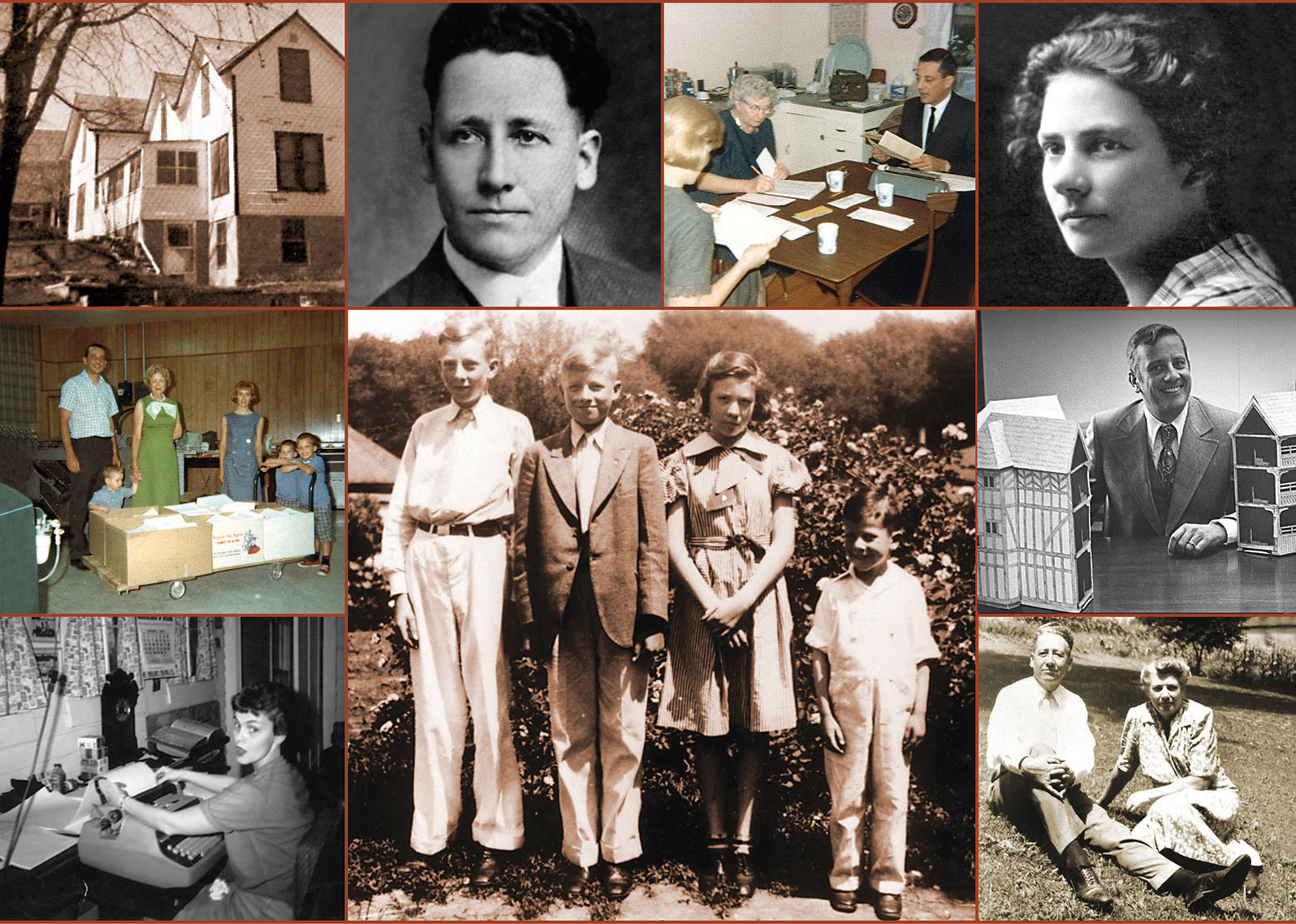 Historical photo collage from Keay family publishing business.